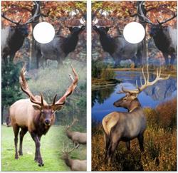 Elk Collage Cornhole Wraps