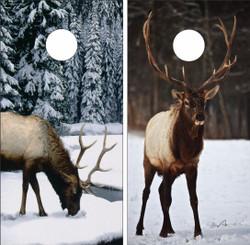 Elk in Snow Cornhole Wraps