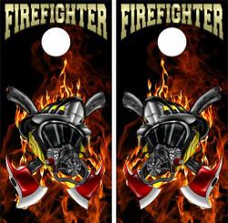 Firefighter Helmet Cornhole Wraps