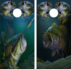 Largemouth Bass Collage Cornhole Wraps