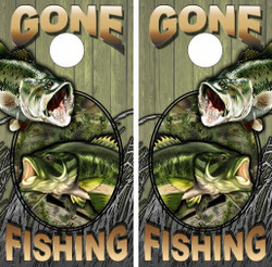 Gone Fishing Wood Version Cornhole Wraps