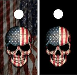 American/Black Skull Cornhole Wraps