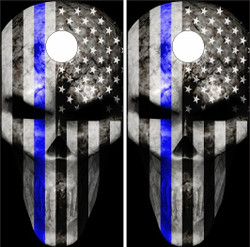 Thin Blue Line Punisher Cornhole Wraps