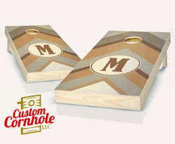 Warm Chevron Monogram Stained Cornhole Set with Bags