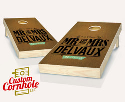 Mr & Mrs Wedding Stained Cornhole Set with Bags