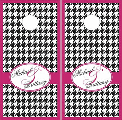 Wedding Houndstooth Cornhole Wraps