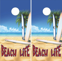 Beach Life Cornhole Wraps
