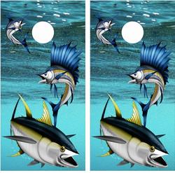 Fish-in-Ocean Cornhole Wraps