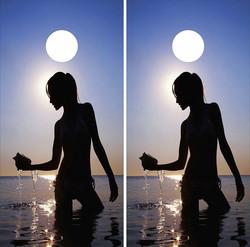 Woman on Beach Cornhole Wraps