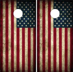 Vintage American Flag Cornhole Wraps