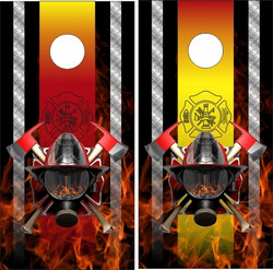 Firefighter Flame Cornhole Wraps