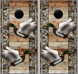 Duck with Wood Background Cornhole Wraps