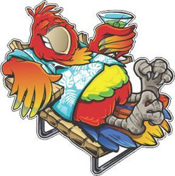 Beach Parrot Cornhole Decals