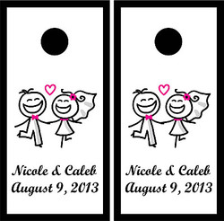 Couple in Love Wedding Cornhole Wraps