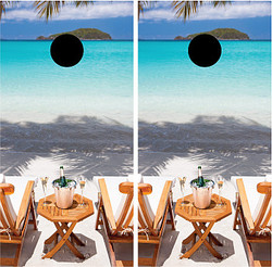 Beach Chairs Cornhole Wraps