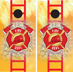 Fire Department with Ladder Cornhole Wraps