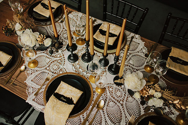 Black and Gold Table Setting & 2016 Wedding Trends | Flyboy Naturals - Flyboy Naturals LLC