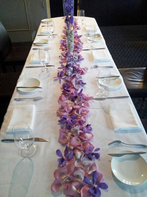 Attractive Lavender Petal Table Runner