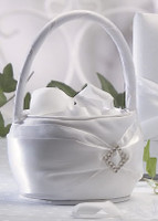 Lillian Rose Diamonds Satin Flower Girl Basket White or Ivory