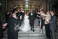 Blissful Newlyweds Laura and Mike Spiegel used Flyboy Naturals Rose Petals for their wedding.