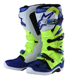 Alpinestars Tech-7 Troy Lee Designs Motocross Boots Yellow Flo/Blue/White