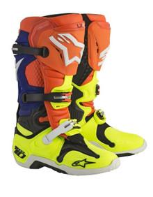 Alpinestars Tech-10 Motocross Boots Orange Flow/Blue/White/Yellow Flo