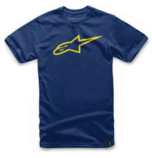 Alpinestars Men's Casual Adult Short Sleeved T-Shirt Ageless Classic Navy/Yellow