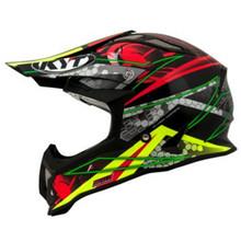 KYT Strike MX Helmet Eagle Web Matt Green/Red