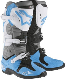 Alpinestars Tech-10 Boots Cyan/Grey/Black