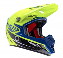 2015 Lazer MX-8 Carbon Tech Helmet Black Carbon/Yellow Flo/Blue