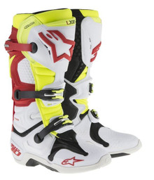 Alpinestars Tech 10 Boots White/Red/Neon