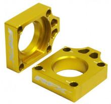 RFX Pro Rear Axle Adjuster Blocks (Yellow) Suzuki RMZ250/450 06-16