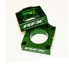 RFX Pro Rear Axle Adjuster Blocks (Green) Kawasaki KX125/250 03-08 KXF250/450 04-16 KLX450 08-16