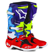016 Alpinestars Tech 10 Boots Venom Limited Edition Blue/Red/Cyan/Yellow