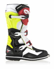 2017 Alpinestars Tech One Boots Black/White/Flo Yellow/Red