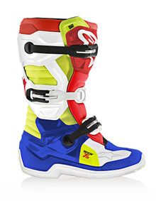 2017 Alpinestars Tech 7S Junior Boots Black/White/Red/Flo Yellow