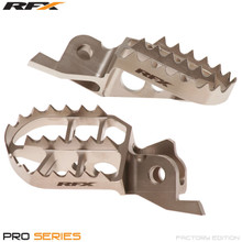 RFX Pro Factory Footrests Billet Steel (Ti Plating) Kawasaki KXF250 06-16 KXF450 07-16