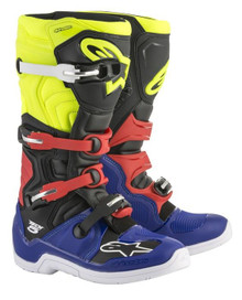 Alpinestars Tech-5 Motocross Boots Blue/Black/Yellow Flou/Red