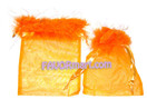 5 x 7 Shiny Feather Organza Bags - 6 pcs