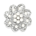 Regal Crystal & Pearl Swirl Vintage Brooch