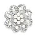 Regal Crystal & Pearl Swirl Vintage Brooch
