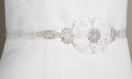 Two Layered Flower and Bead Wedding Belt Sash - White