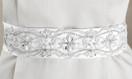 Elegant Pearl and Rhinestone Wedding Belt - White