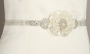Two Layered Flower and Bead Wedding Belt Sash - Ivory