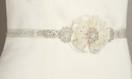 Two Layered Flower and Bead Wedding Belt Sash - Ivory