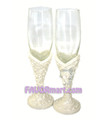 Roses With Silver Leaves Toasting Flutes - Set of 2