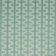Athenia Fretwork Aquamarine by Kasmir Fabric 1398 52% Rayon 48% Polyester CHINA 60,000 Wyzenbeek Double Rubs H: 7 4/8 inches, V:3 2/8 inches 58 - Fabric Carolina - Kasmir