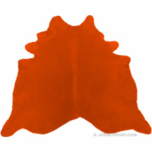 Dyed Bright Orange Cowhide Rug