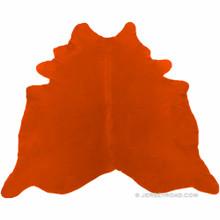 Dyed Bright Orange Cowhide Rug