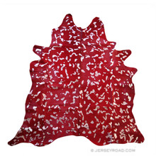 Devore Dyed Red with Metallic Silver Cowhide Rug